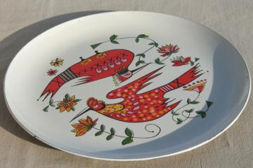 mod vintage plastic serving tray, bright retro folk art kookaburra bird design