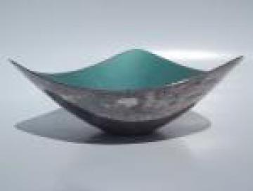 Mod vintage Reed and Barton enameled silver plate bowl, aqua blue enamel