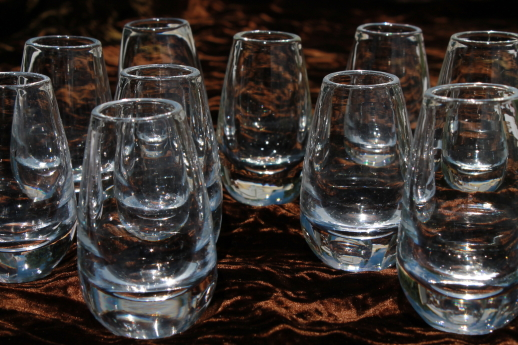 Mod Vintage Roly Poly Glass Shot Glasses Glass Weighted