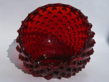 Mod vintage round orb ashtray, hobnail texture pattern, ruby red glass