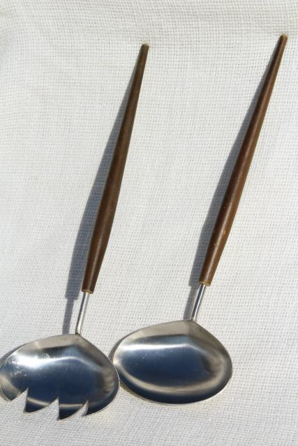 mod vintage salad servers made in Japan, stainless steel spoon & fork w/ wood handles
