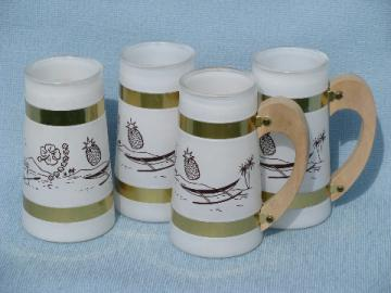 Mod vintage Siestaware tiki cups for tropical summer beach drinks