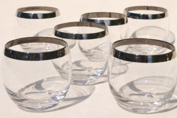 mod vintage silver band roly poly glasses, round tumblers w/ platinum trim