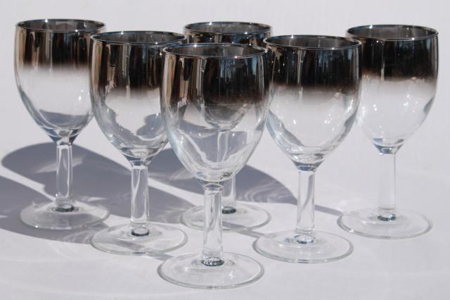 Metallic Wine Glasses : Mod vintage silver fade wine glasses french glass