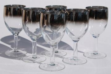 mod vintage silver fade wine glasses, French glass stemware ombre metallic color