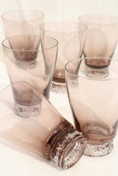 mod vintage smoke brown / crystal glass cocktail set of 6 drinking glasses, highball tumblers