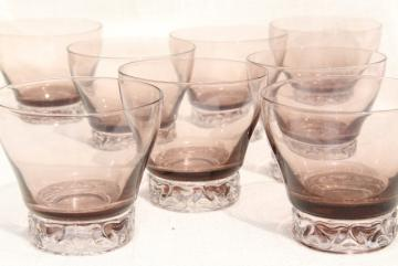 mod vintage smoke brown / crystal glass cocktail set of 8 drinking glasses, low ball tumblers