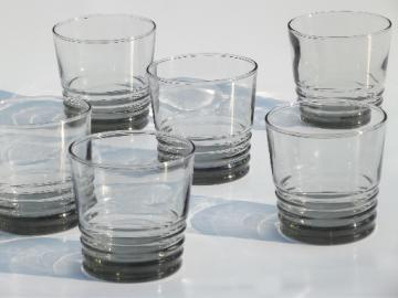 Mod vintage smoked glass glasses, smoke grey  ring pattern old-fashioneds