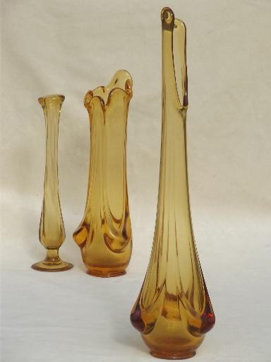 Mod Vintage Swung Glass Vases Amp Bud Vase Lot 60s Vintage