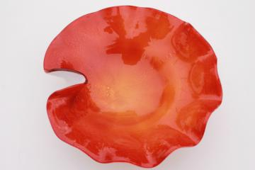 mod vintage tangerine orange / white cased glass bowl, hand blown free form Murano glass