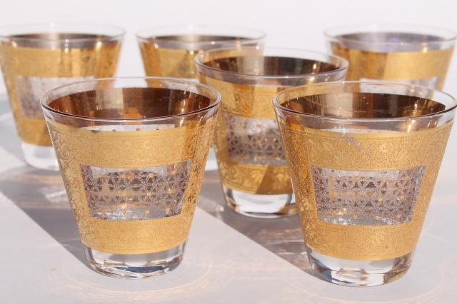 mod vintage whiskey glasses w/ encrusted gold bands - Georges Briard? Culver?