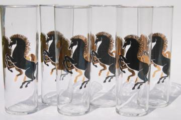 mod vintage zombie glasses w/ rearing horses, retro tall skinny tumblers cocktail happy hour bar