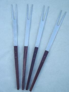 Mod wood  fondue forks set, vintage Japan danish modern style