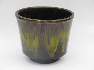 Molasses brown / yellow drip old California pottery garden planter pot jardiniere