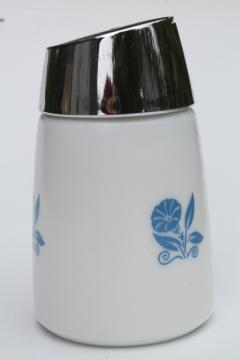morning glory blue corn flower milk glass sugar dispenser, vintage Gemco type shaker jar