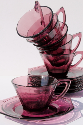 Moroccan amethyst glass cups and saucers, mid-century vintage Hazel Atlas glass