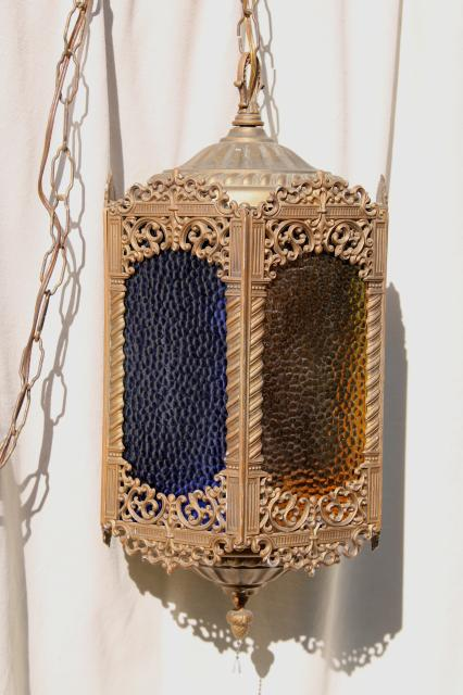 Moroccan Lantern W Colored Glass Panels Bohemian Vintage