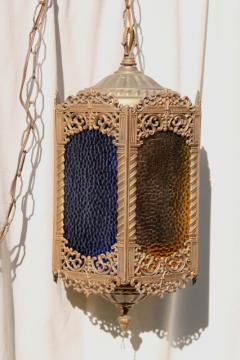 moroccan lantern w/ colored glass panels, bohemian vintage swag lamp hanging light