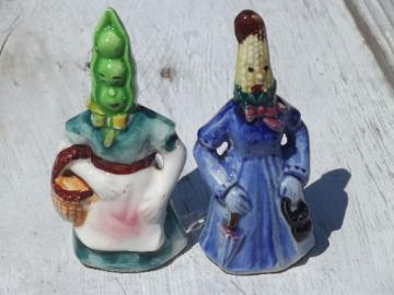 Mrs. Peapod & Corn lady anthropomorphic salt & pepper, Japan S&P shakers