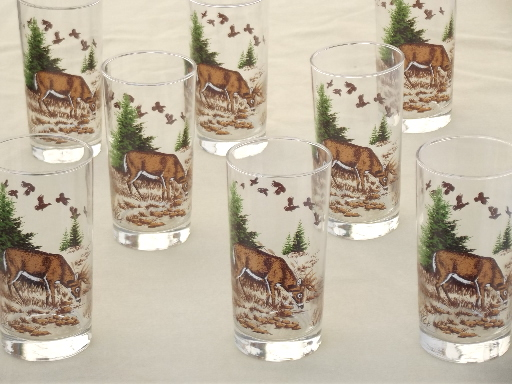 Modern kitchen accessories - Mule Deer Drinking Glasses Libbey Glass Tumblers Set W