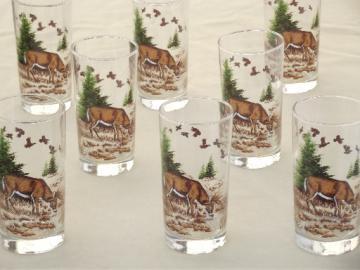 Mule deer drinking glasses, Libbey glass tumblers set w/ buck deer decal