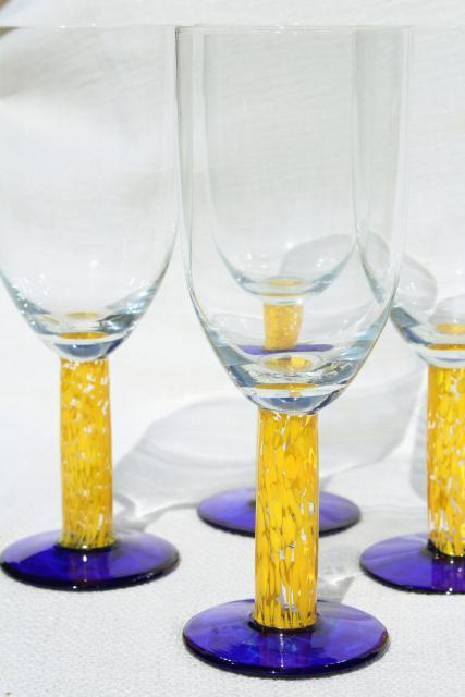 Murano Style Hand Blown Glass Stemware Chunky Casual