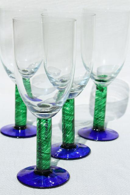 Murano style hand blown glass stemware chunky casual colored glass goblets wine glasses