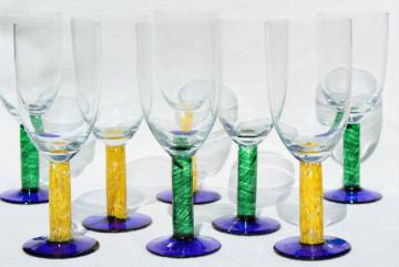 murano style hand blown glass stemware, chunky casual colored glass goblets wine glasses