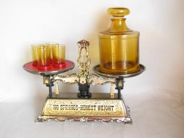 Musical music box balance scales decanter bottle / shots set, vintage japan