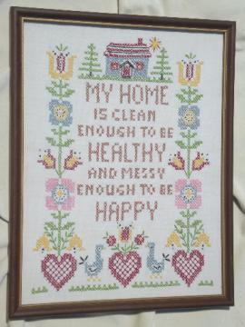 My Home clean & messy cross-stitched sampler, retro framed needlework motto