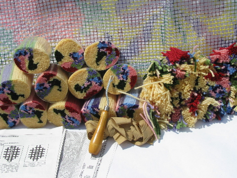 Natura latch-hook rug pile vest kits w/ canvas amd yarn, quilt and flowers