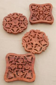 natural carved wood trivets, bohemian style vintage India Indian wood tiles
