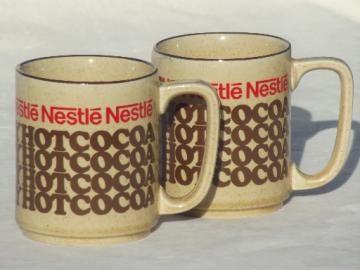 Nestle's chocolate Hot Cocoa mugs, retro 70s vintage Nestle advertising