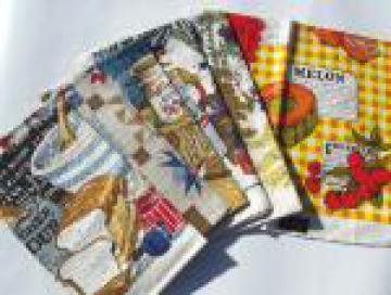Never used vintage pure linen tea towels lot, retro 60s 70s 80s prints