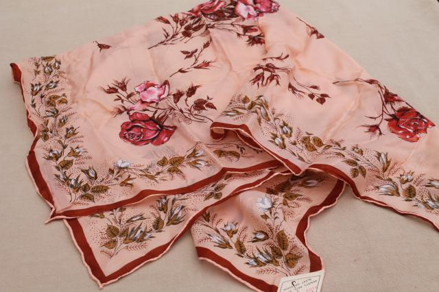 new w/ label vintage silk scarf square w/ water repellent finish, rose print blush pink