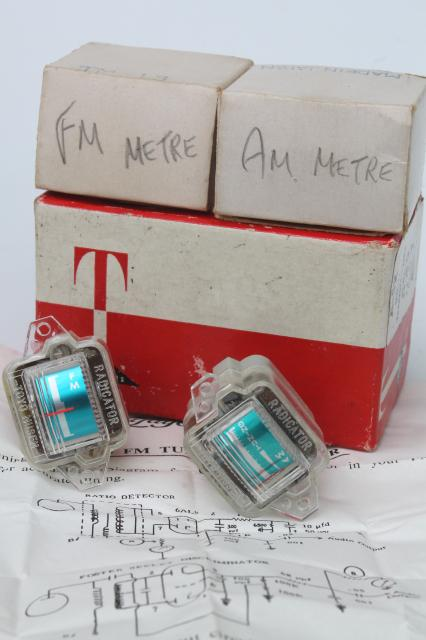 new old stock Lafayette radio parts AM & FM tuning meters TM-12 & TM-13