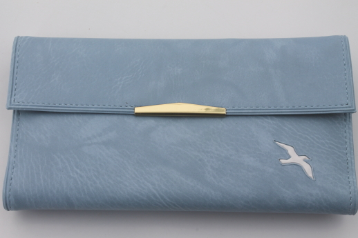 New old stock ladies wallet w/ checkbook holder, blue vinyl wallet w/ seagull