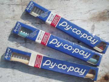 New old stock sealed vintage Py-co-pay toothbrushes, Pycopay toothbrush lot