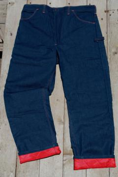 New old stock vintage winter work pants, denim jeans lined w/ quilted nylon