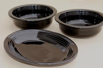 newer or vintage black Fiesta ware Homer Laughlin pottery serving bowls & platter