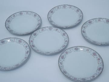 Noritake Bloomfield floral, set 6 vintage china bread and butter plates