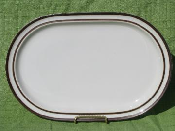Noritake stoneware platter made in Japan, chocolate brown band