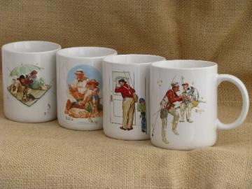 Norman Rockwell fisherman and fishing scene prints coffee mugs set