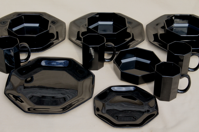 Octime Arcoroc Vintage Black Glass Dinnerware Set Modern
