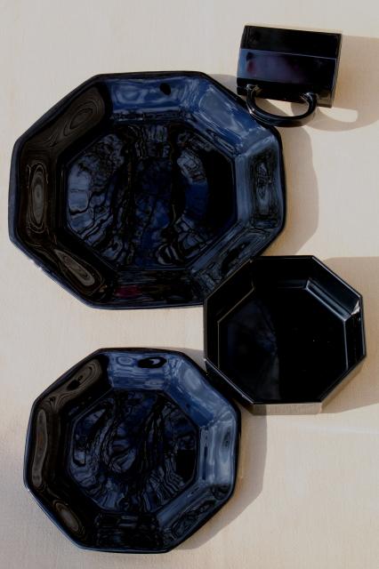 Arcoroc vintage black glass dinnerware set, modern geometric plates ...
