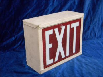 Old 1920s art deco vintage, illuminated industrial EXIT sign w/raised glass letters