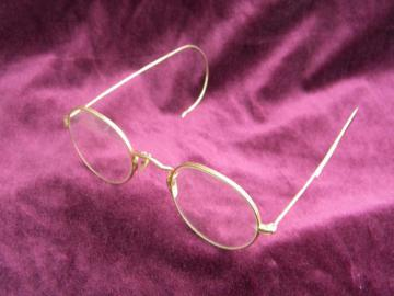 Old antique gold rimed spectacles or eyeglass frames, vintage Artcraft