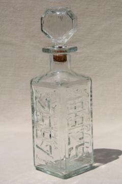 old car license plates decanter, vintage Walker's bourbon glass bottle