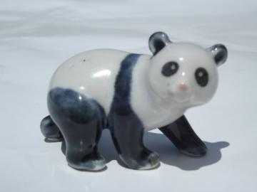 Old China mark vintage ceramic giant panda miniature animal figurine