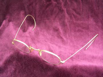 Old embossed gold wire rimed  spectacles/eyeglasses, antique vintage.